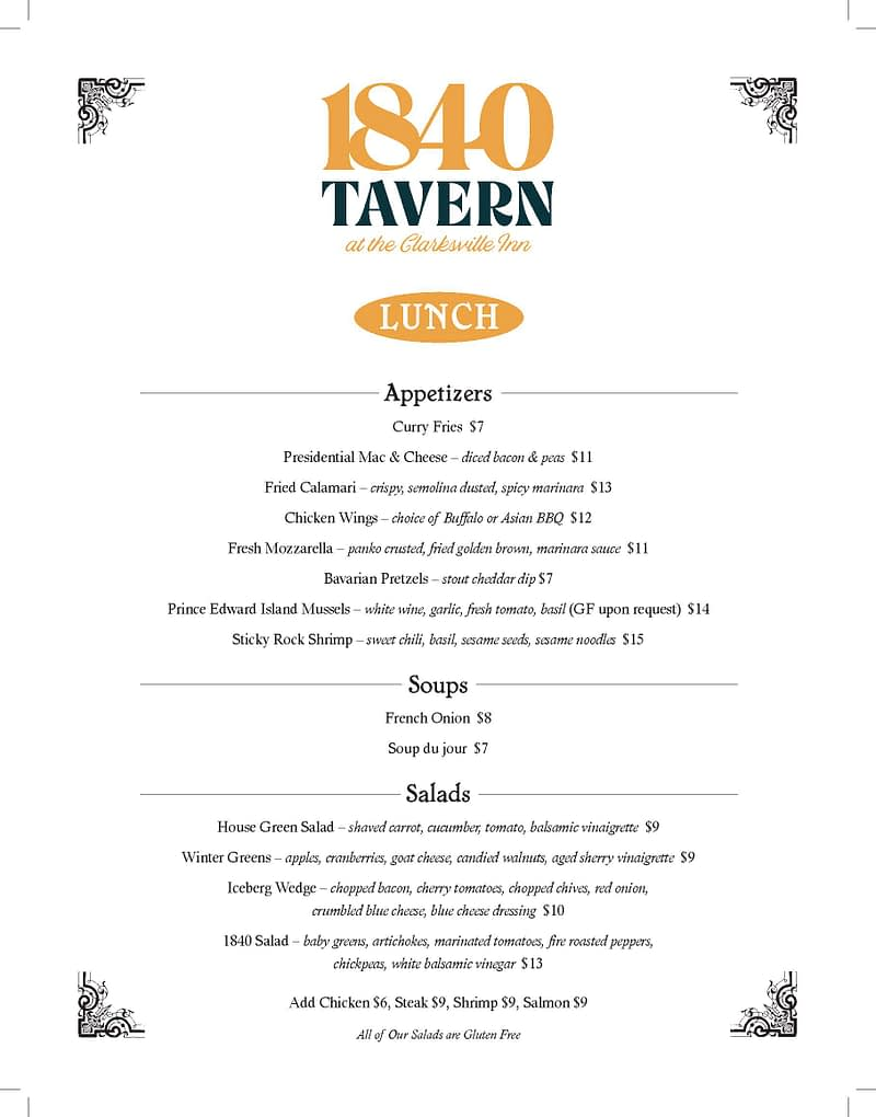 1840 Tavern Lunch Menu