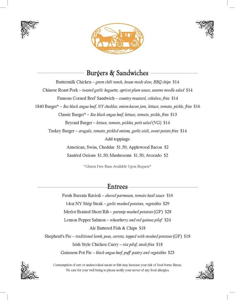 1840 Tavern Dinner Menu