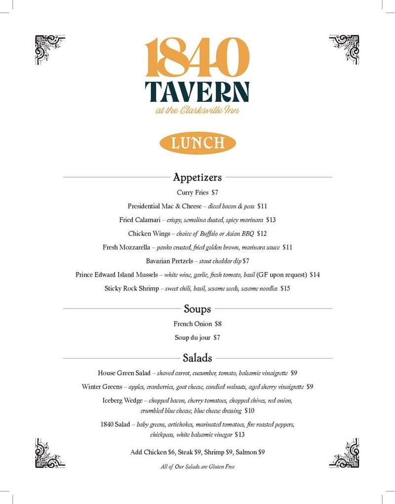 1840 Tavern Lunch Menu